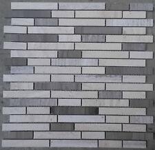Mosaic Marble Stone Tiles 30x30 Naturel Cream Grey Yawood Bath, NEW