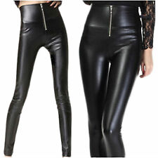 Sexy Celeb High Waist Stretch Women Zipper Wet Look Skinny Pants Leggings