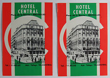 Two Hotel Central Advertisements / Room Number Cards, Brussels Belgium