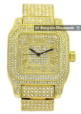 manly big gold tone square CZ ice out case dial bracelet clubbing watch