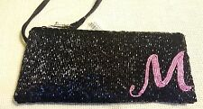 NWT Liz Claiborne Black Beaded Initial M in Pink Beads Wristlet Pencil Bag