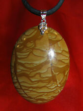 Picture Jasper stone pendant leather necklace healing jewelry big sexual support