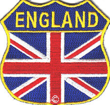 ENGLAND FLAG SHIELD, MOTORCYCLE, BIKER, VEST/Iron On Embroidered Patch, English