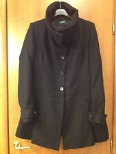 UNITED COLOR OF BENETTON TG 44 CAPPOTTO DONNA COLORE NERO LANA 100%
