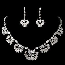 Bridal Antique Silver Great Gatsby Style Necklace & Earring Wedding Jewelry Sets