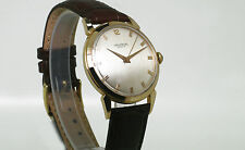VINTAGE 1950s GOLD PLATED Universal Geneve Orologio. Scatola ORIGINALE incluso!