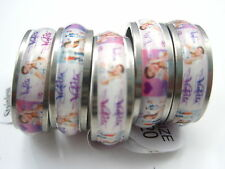 wholesale 10pcs violetta mixed stainless steel girl's band stickers rings