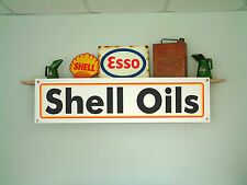 Shell oil workshop or garage vintage style advertising banner, sign etc