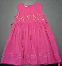 Baby Girls Monsoon Pink Embroidered Tie Back Dress Party Summer 12-18 Months