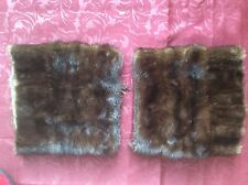"""SET OF TWO REAL BROWN MINK FUR  PIECES 10X10"""" DOUBLE-SIDED FOR SMALL PROJECTS"""