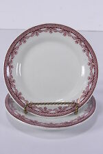 "2 Sterling Vitrified China Restaurant Ware 1930-50 Plates 6 3/8"" Burgundy Floral"