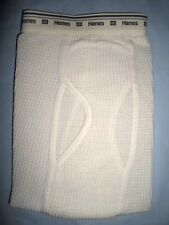 HANES THERMAL MENS OFF-WHITE ECRU WAFFLE LONG JOHNS ANKLE PANTS UNDERWEAR S NWOT