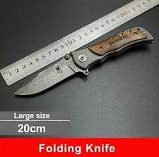 Browning Folding Knife 440C Stainless Steel Damascus Tattoo Knife White Handle
