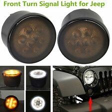 2x Front  LED Turn Signal Light Assembly with White Halo Eyes For Jeep Wrangler