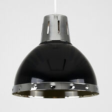 Industrial Style Domed Ceiling Pendant Chrome Detail Light Shade Modern Home