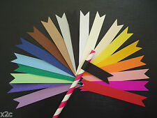 20 Paper Straw Flags Tags Wedding Hens Christening Baby Shower Birthday Party