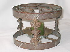 WROUGHT IRON CANDLE FOOD TEAPOT DISH WARMER VINTAGE VOTIVE INCLUDED 7.5 DIAM