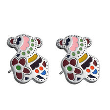 Fashion Sets Titanium Steel Colorful Bear Pendant Stud Earrings For Women Gift