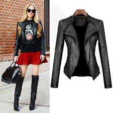 Women Punk Biker Jacket Faux Leather Motorcycle Slim Down Zip Up Coat Outwear