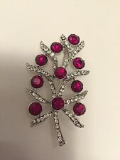 Sparkling! Vintage Signed Weiss Christmas Holly Tree  Pin