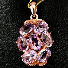 Sterling Silver 925 Rose Gold Plated Genuine Natural Amethyst Cluster Pendant