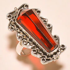 FREE SHIPPING CHARMING FACETED MOZAMBIQUE GARNET VINTAGE LOOK .925 SILVER RING