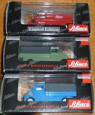 3 X SCHUCO 1:43 SCALE MODELS - ALL VANS GREEN/BLUE & RED - ALL MODELS ARE MINT