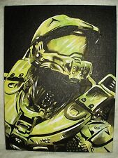 Canvas Painting Halo Master Chief D Green B&W 16x12 inch Acrylic