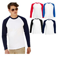 FRUIT OF THE LOOM LONG SLEEVED BASEBALL T SHIRT S - XXL