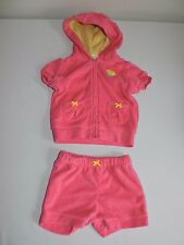 Carters Cupcake Terry Cloth Pink Bathing Swim Pool Outfit Top Bottoms Beach 3M