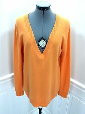 J.CREW Divina Cashmere V-Neck Sweater Orange Womens size L
