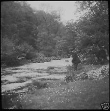 Glass Magic Lantern Slide EDWARDIAN MAN FISHING ON RIVER C1910 PHOTO