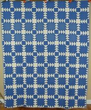 DAZZLING Vintage 30's Blue & White Flying Geese Wild Goose Chase Antique Quilt!