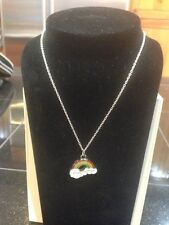 "LGBT SILVER NECKLACE 18"" Rainbow Charm Flag Pride Gay Lesbian Bisexual so cute"