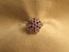 N.O.S. Vintage Lady's Sterling Silver Cluster Ring W/red & clear Cubic Zirconias