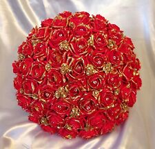 ARTIFICIAL WEDDING FLOWERS RED GOLD FOAM ROSE BRIDE WEDDING BOUQUET POSIE LARGE
