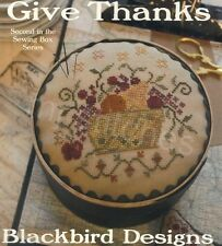 GIVE THANKS BLACKBIRD DESIGNS CROSS STITCH TWO DESIGNS CHART, 2ND IN SEWING BOX