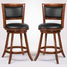 "Swivel Wood Dining Chairs 24""H Bar Stool Set of 2 Espresso w/ Upholstered Seat"