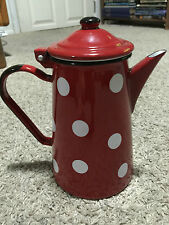 Vtg Emalia Olkusz 1907 French Metal Enamel Coffee Tea Pot Red White Polka Dot