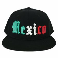 Black Mexican Mexico Embroidered Flat Bill Snapback Snap Back Baseball Cap Hat