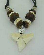 Shark tooth pendant coconut shell and white surf beads cord necklace 14mmx13mm