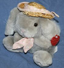 "Chosun Gray Plush EASTER BUNNY RABBIT 7"" Straw Hat Pink Nose Flower Tie Soft Toy"