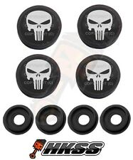 4 Black Custom License Plate Frame Tag Screw Cap Covers - PUNISHER SKULL B16