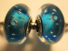 2X Authentic Pandora Silver 925 Ale Blue Effervescence Clear CZ Bead Charm New