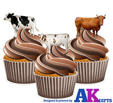 Farm Animals Cows Birthday Party 12 Cup Cake Toppers Edible Decorations
