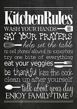 Shabby chic A4 Kitchen rules decorative metal sign tin wall door plaque gift
