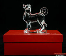 Baccarat France Art Glass Zodiac Dog Standing Signed Paperweight in Box Figurine