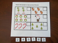 Christmas Number Matching laminated preschool child learning game activity.  Stu