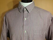 Johnston and Murphy Tailored Fit LS Button Front Shirt Striped Cotton sz XL