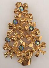 Avon 1992 Aurora Borealis Stones Bows Gold Tone Christmas Tree Pin Brooch